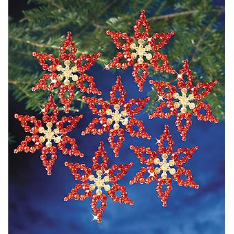 Holiday Beaded Ornament Kit Poinsettias 3.5