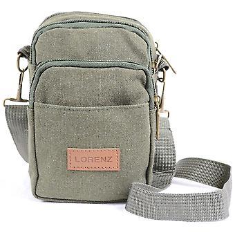 Heren / dames kleine handige Canvas Bag / Belt Bag, gebruik met afneembare schouderriem of riemlus (olijfgroen)