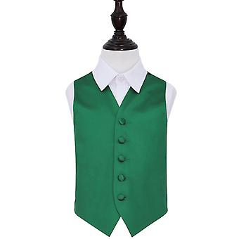 Boy's Plain Emerald Green Satin Wedding Waistcoat