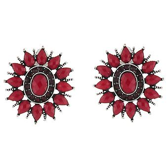 Clip On Earrings Store Vintage Ruby Red Starburst Clip on Earrings