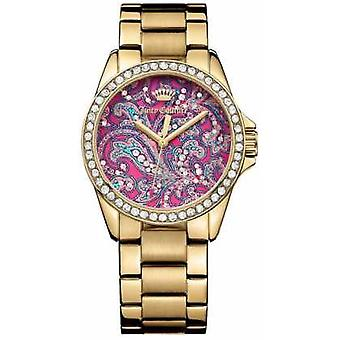 Juicy Couture Womens Gold Metal Strap PInk Pattern Dial 1901424 Watch