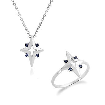 Gemondo Sterling Silver Blue Sapphire Star 45cm Necklace & Ring Set