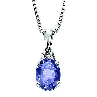 9 CT White Gold With Iolite And Diamond Necklace