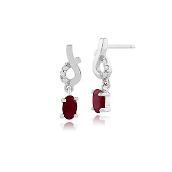 Gemondo 9ct White Gold 0.64ct Ruby & Diamond Drop Earrings