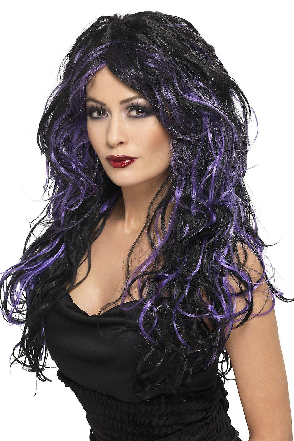 Smiffys Gothic Bride Black Purple Streaked Long Wig Womens Halloween Fancy Dress