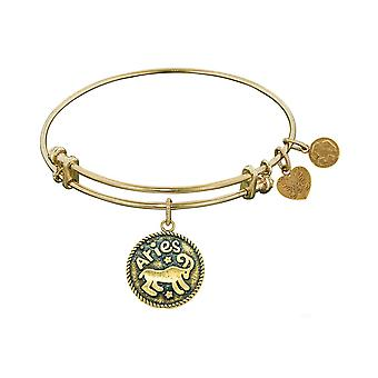 Antique  Smooth Finish Brass Aries March Angelica Bangle Bracelet