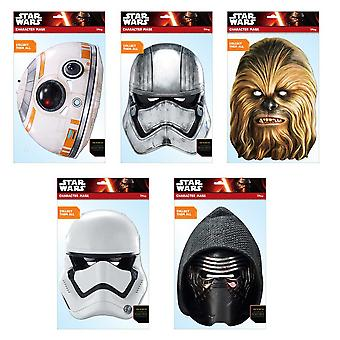 Star Wars Force Awakens Official 2D Card Party Face Masks Variety 5 Pack