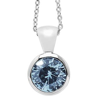 Burgmeister chain and pendant JBM1015-321, 925 sterling silver rhodanized, light blue zirconia