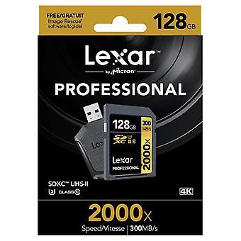 Lexar 128GB 2000 x professionel SDXC UHS-II [U3] klasse 10 kort & UHS-II USB-læser. LSD128CRBEU2000R