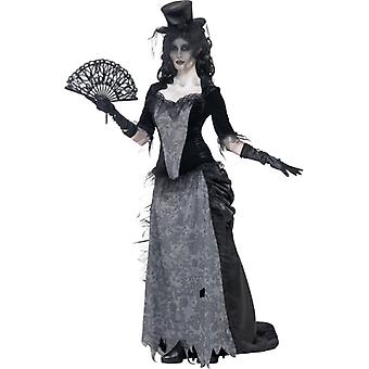 Costume ghost black widow grey top skirt and hat size L