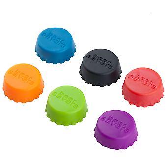 TRIXES pakke med 6 silikone flaske hætter assorterede farver