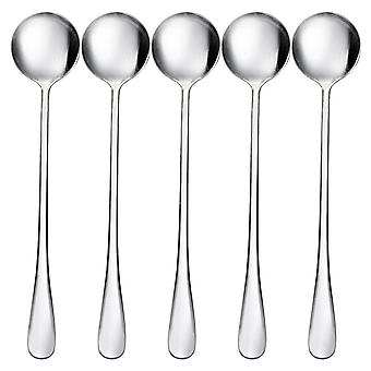 TRIXES Long Stainless Steel Spoons Coffee Tea Smoothies Dessert Set of 5
