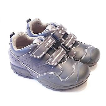 Geox Savage Boys Navy Durable Leather Trainer With Toe Bumper