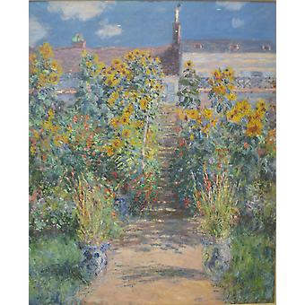 Claude Monet - The Artists garden at Vetheuil Poster Print Giclee