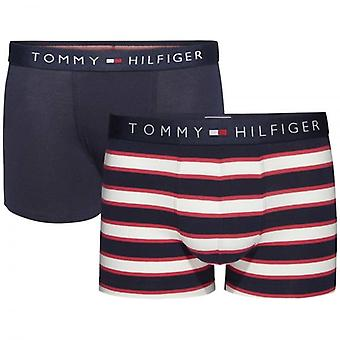 Tommy Hilfiger Boys 2 Pack icona Boxer tronco, Blazer Rosso / Navy Stripe, Medium di Tango
