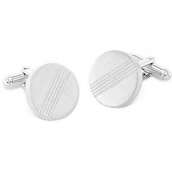 Duncan Walton Darwin Brushed Rhodium Plated Cufflinks - Silver