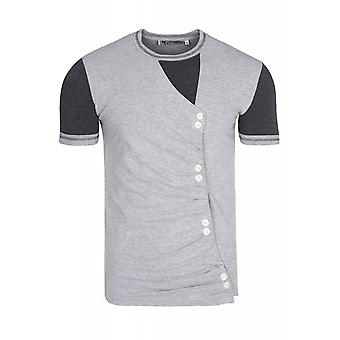 RUSTY NEAL buttons shirt mens T-Shirt grey with buttons