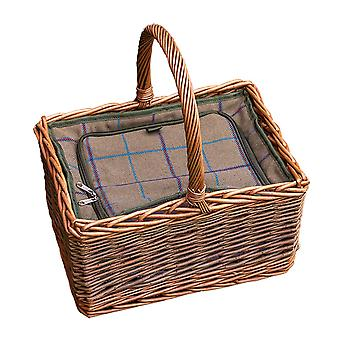 Deluxe Butchers Wicker Picnic Basket with Fitted Cooler