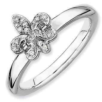 Sterling Silver Stackable Expressions Fleur De Lis Diamond Ring - Ring Size: 5 to 10
