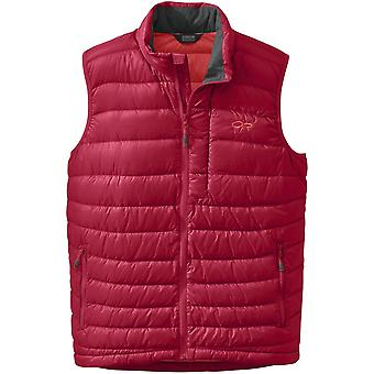 **SALE**Outdoor Research Mens Transcendent Down Vest Agate/Hot Sauce (Small)