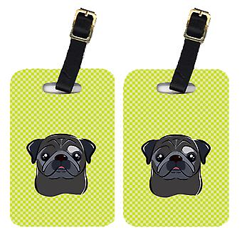 Pair of Checkerboard Lime Green Black Pug Luggage Tags