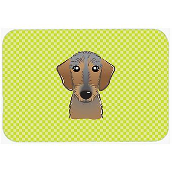 Checkerboard Lime Green Wirehaired Dachshund Mouse Pad, Hot Pad or Trivet