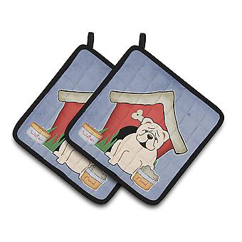 Dog House Collection English Bulldog White Pair of Pot Holders