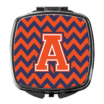 Carolines Treasures  CJ1042-ASCM Letter A Chevron Orange and Blue Compact Mirror