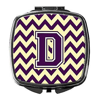 Carolines Treasures  CJ1058-DSCM Letter D Chevron Purple and Gold Compact Mirror