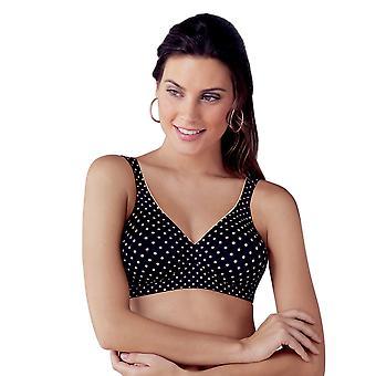 Anita Rosa Faia 5644-001 Women's Twin Art Black Microfiber Non-Padded Non-Wired Plus Size DD+ Support Soft Bra
