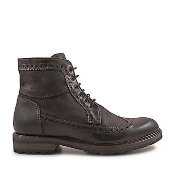 Leonardo Shoes Herren 4682OXFORDBROWN Braun Leder Stiefeletten