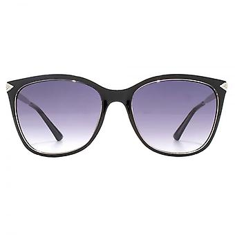 Guess Diamante Temple Fine Peaked Square Sunglasses In Black