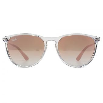 Ray-Ban Junior Izzy Keyhole Round Sunglasses In Transparent Brown Mirror