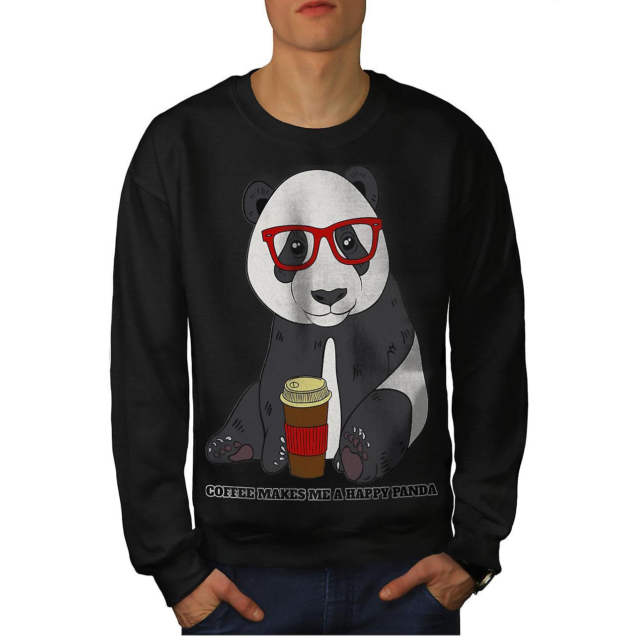 Café Panda heureux hommes noirSweatshirt
