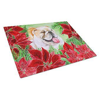 English Bulldog Poinsettas Glass Cutting Board Large