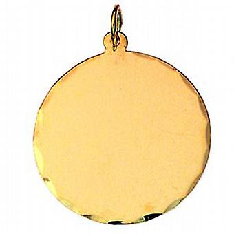 9ct Gold 26mm diamond cut edge round Disc