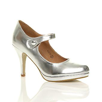 9d8fc05061f Ajvani womens mid high heel mary jane evening work platform court shoes