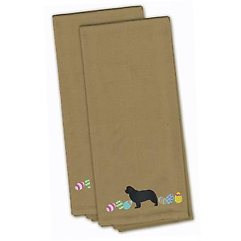 Newfoundland Easter Tan Embroidered Kitchen Towel Set of 2