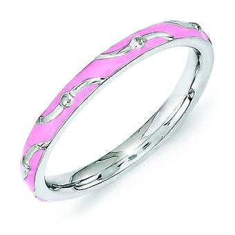2.5mm Sterling Silver Polished Patterned Rhodium-plated Stackable Expressions Pink Enamel Ring - Ring Size: 5 to 10