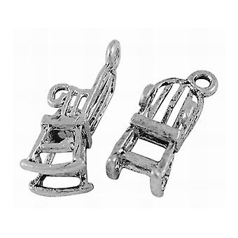 Packet 10 x Antique Silver Tibetan 22mm Rocking Chair Charm/Pendant ZX01710