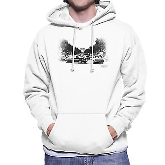 Citroen DS Faded Effect Paris Arc De Triomphe Men's Hooded Sweatshirt