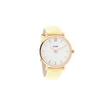 Campbell Damenuhr Minuit rose gold white/sunny yellow stripes CL30032