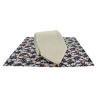 Michelsons of London Plain Tie and Contrast Floral Pocket Square Set - Cream
