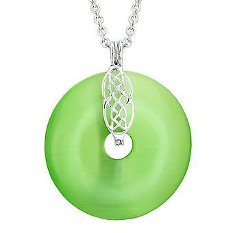 Große keltische Schild Knoten Schutz Kräfte Amulett grün simuliert Katzen Auge Donut Anhänger Halskette