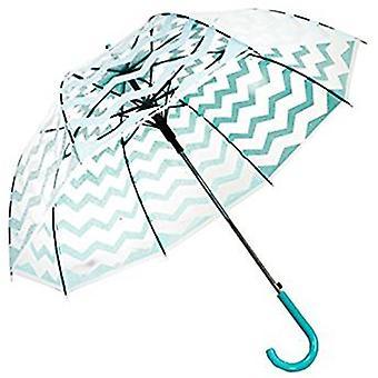 Straight Clear Umbrella (Light Green Chevron)
