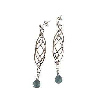 Ear plug earrings silver ladies earrings aquamarine quartz solid 925 Silver