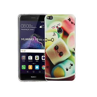 Mobile Shell for Huawei P8 Lite 2017 cover case protective bag motif slim TPU + armor protection glass 9 H lettering marshmallows