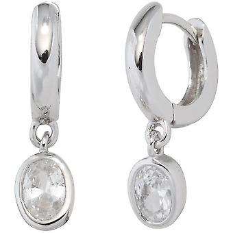 Srebrny hoop kolczyki 925 Silver 2 Biała cyrkonia Kolczyki srebrne kolczyki