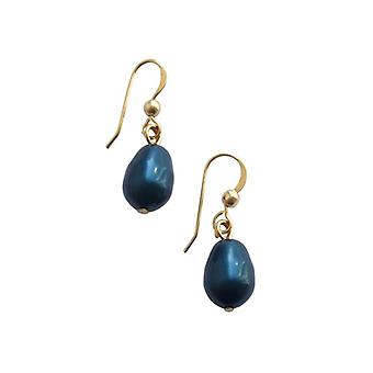 Muschelkern Perlen  Ohrringe MK-Perlen Ohrringe Blau Tropfen Vergoldet