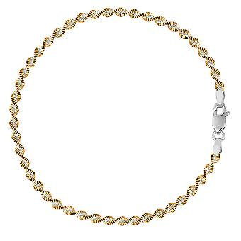 White And Yellow Singapore Style Chain Anklet In Sterling Silver